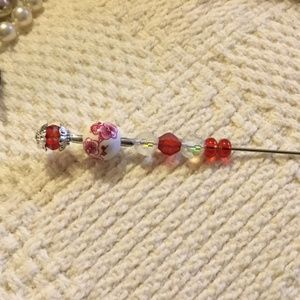 """Jewelry - Vintage Style Hat Pin Red Glass Crystals 6"""""""